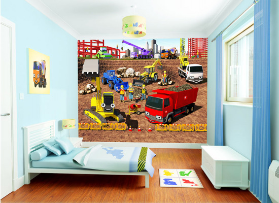 fototapete kinderzimmer jungen wandbild baustelle baumeister wanddeko bagger ebay. Black Bedroom Furniture Sets. Home Design Ideas