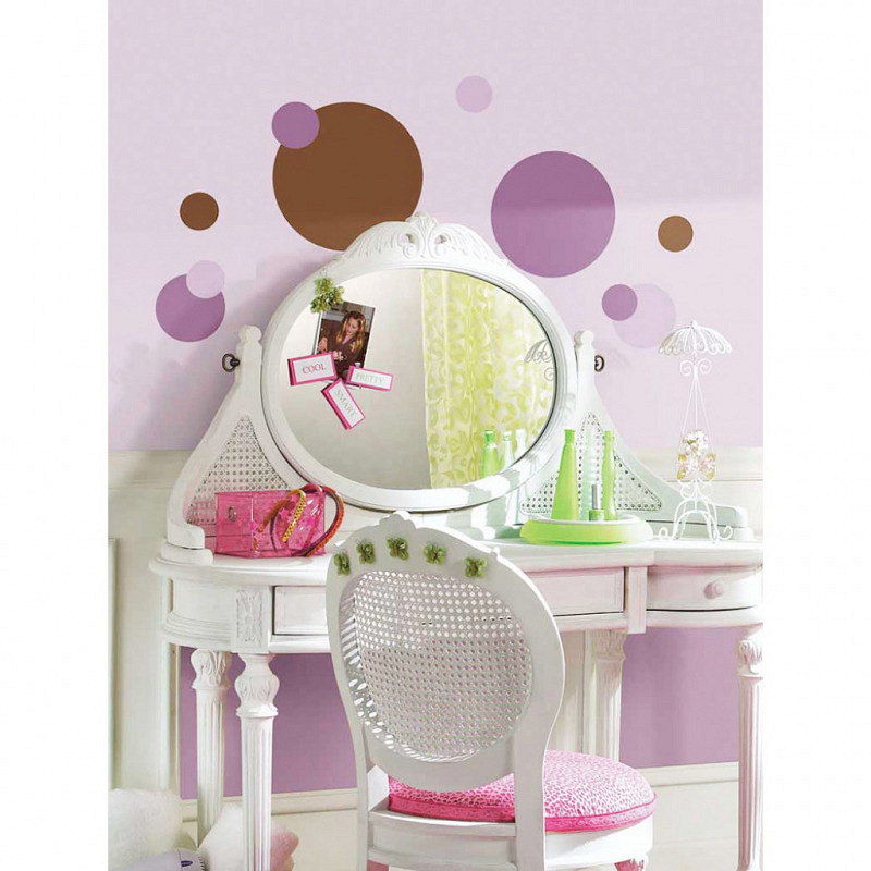 RoomMates Wandsticker purpur und braune Punkte