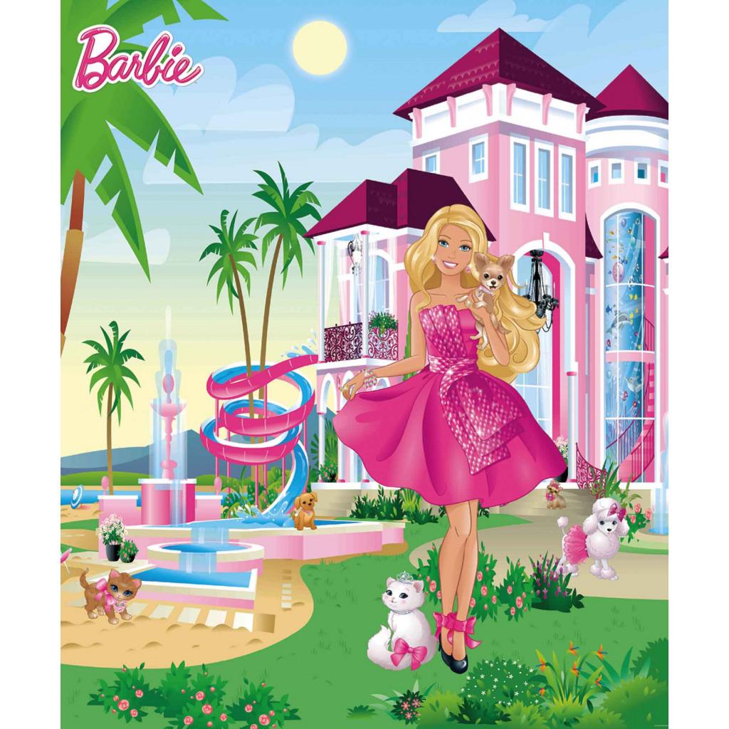 Walltastic fototapete barbie pink palast kinderzimmer m dchen wandbild foto bild - Barbie kinderzimmer ...