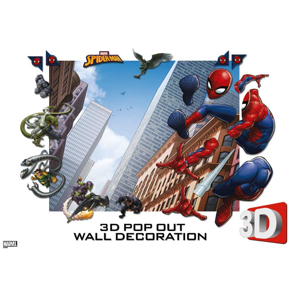 3D Pop Out Fototapete Spiderman Walltastic