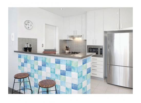 Wandtapete Dekofolie Fliesenspiegel blau Küchenbereich