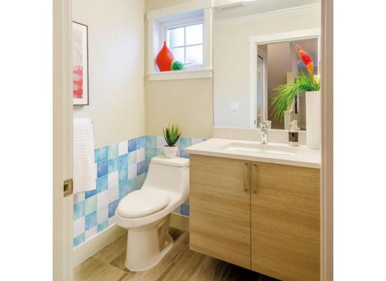 Wandtapete Dekofolie Fliesenspiegel blau Badezimmer