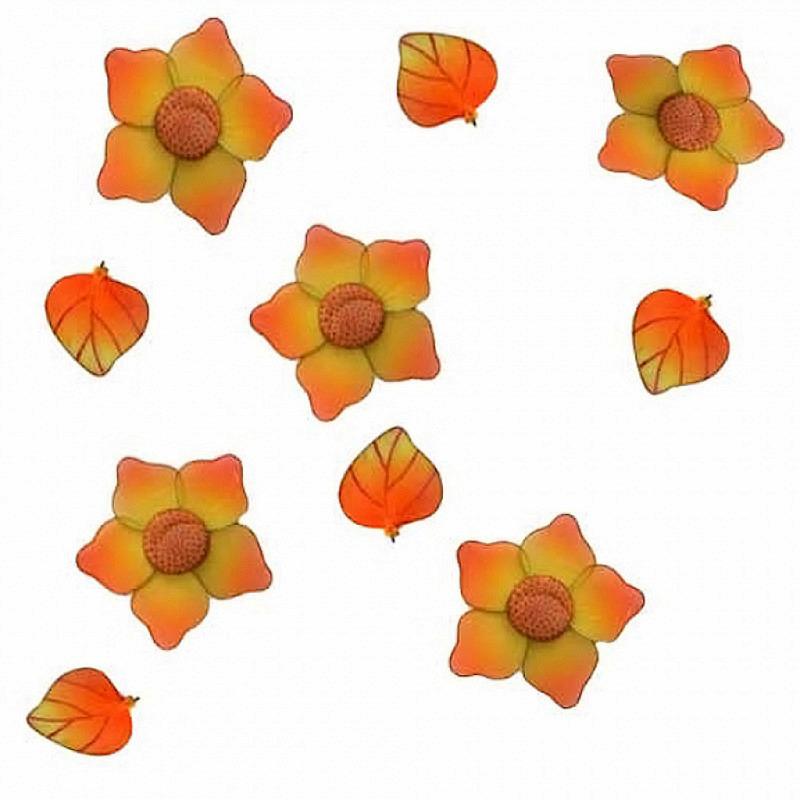 Blütengirlande aus Nylon in gelb 3er Set