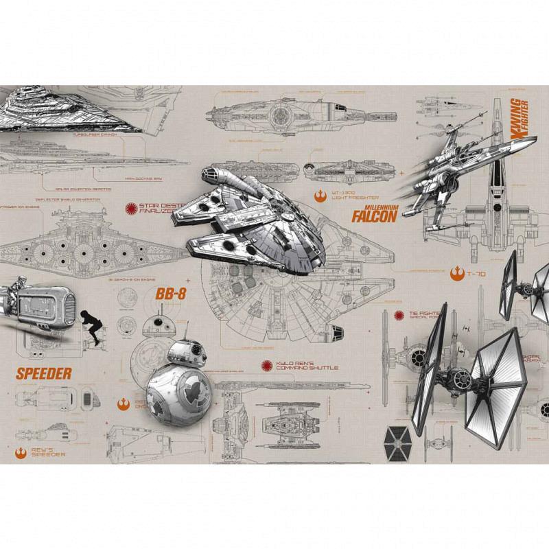 Fototapete Star Wars Fighter Bauzeichnung