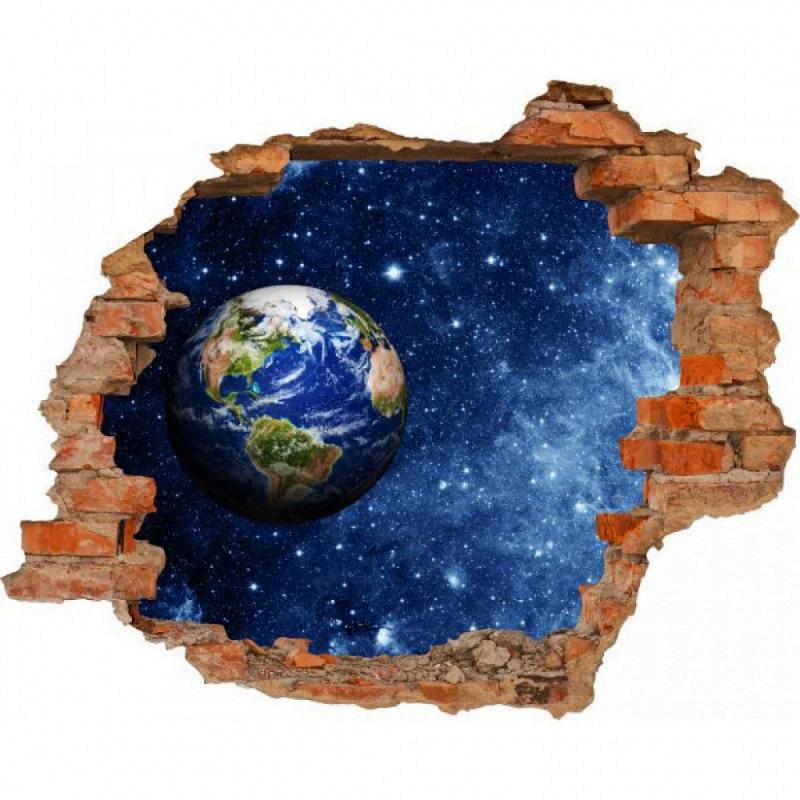 Wandsticker 3D-Optik Weltall Erde