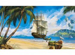 Piratenwelt Fototapete Piratenschiff am Strand g..