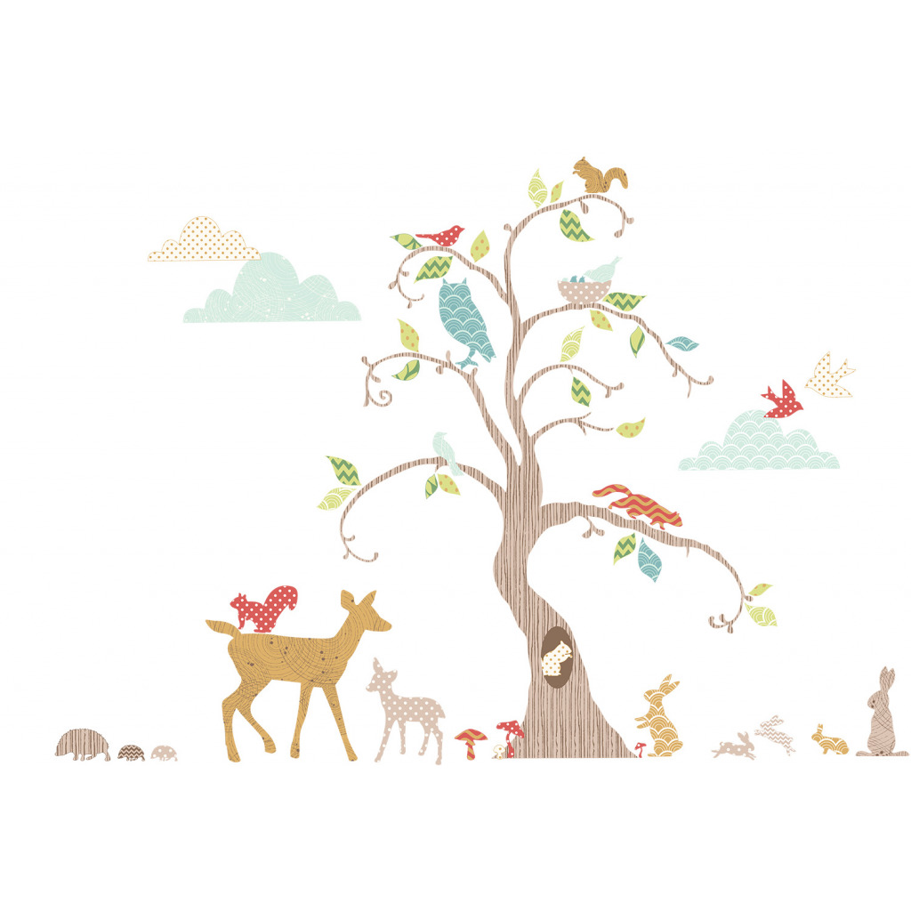 funtosee wandtattoo waldtiere am baum wandsticker deko set. Black Bedroom Furniture Sets. Home Design Ideas