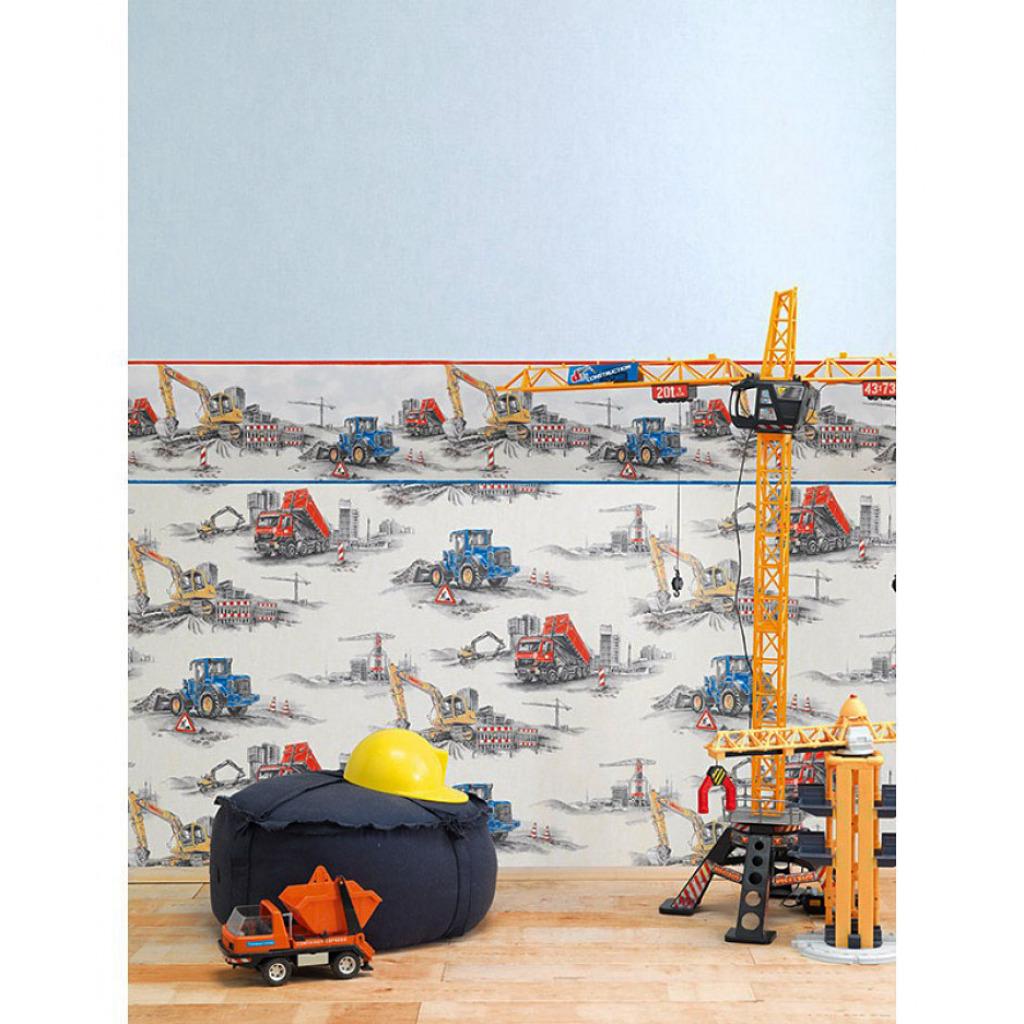 kinderzimmer tapete baustelle bagger bulldozer kran baufahrzeuge rasch ebay. Black Bedroom Furniture Sets. Home Design Ideas