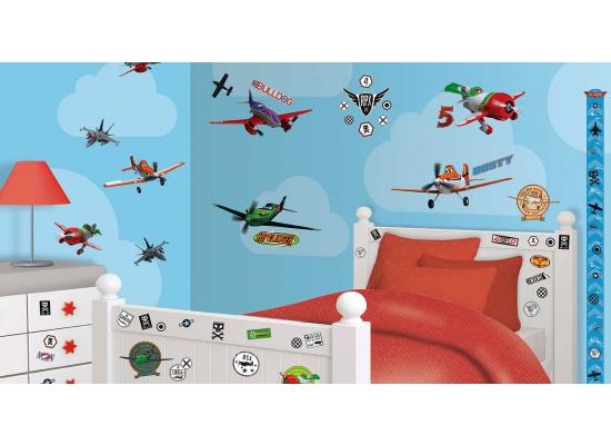 wandsticker kinderzimmer disney planes flugzeuge 65 st ck. Black Bedroom Furniture Sets. Home Design Ideas