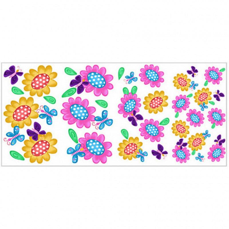 Wandsticker Wandtattoo Schmetterlinge & Blumen