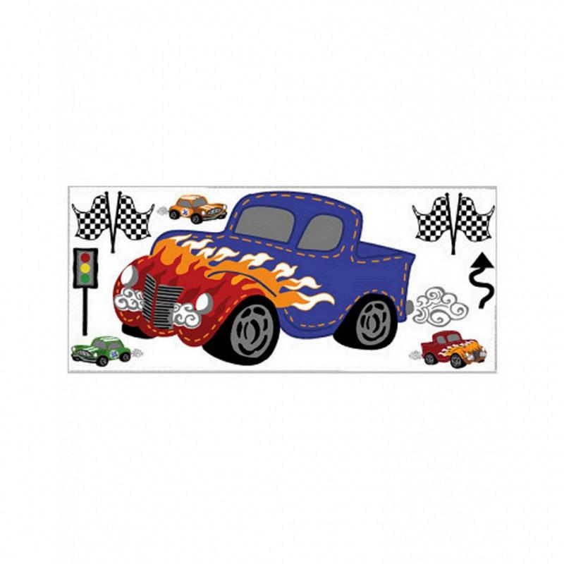 Wandsticker Auto Rennfahrzeug Fast & Fun