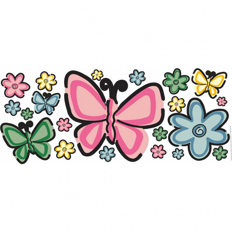 Wandsticker Aufkleber Schmetterlingsbett