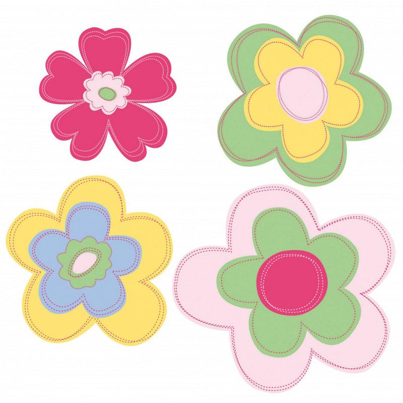 Wandsticker Wallies Retro Pastellblüten
