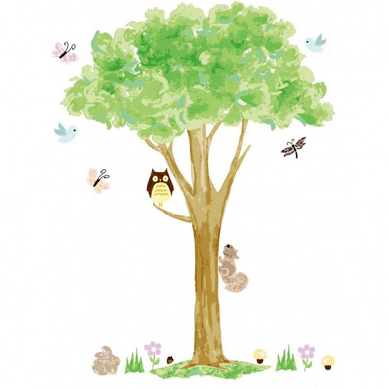 Wandsticker Wandtattoo Wandbild Eule auf Baum