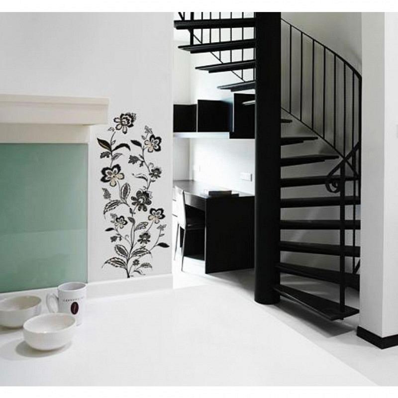 RoomMates Wandtattoo Blumenranken in schwarz