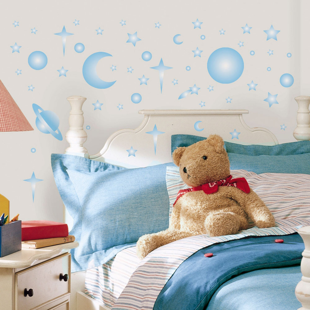 wandaufkleber wandsticker baby zimmer leuchtsterne sonne. Black Bedroom Furniture Sets. Home Design Ideas