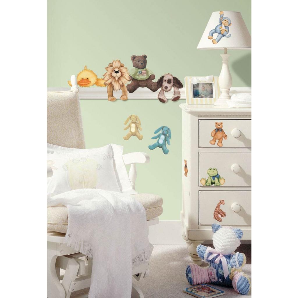 roommates wandsticker wandtattoo baby kuscheltiere ebay. Black Bedroom Furniture Sets. Home Design Ideas