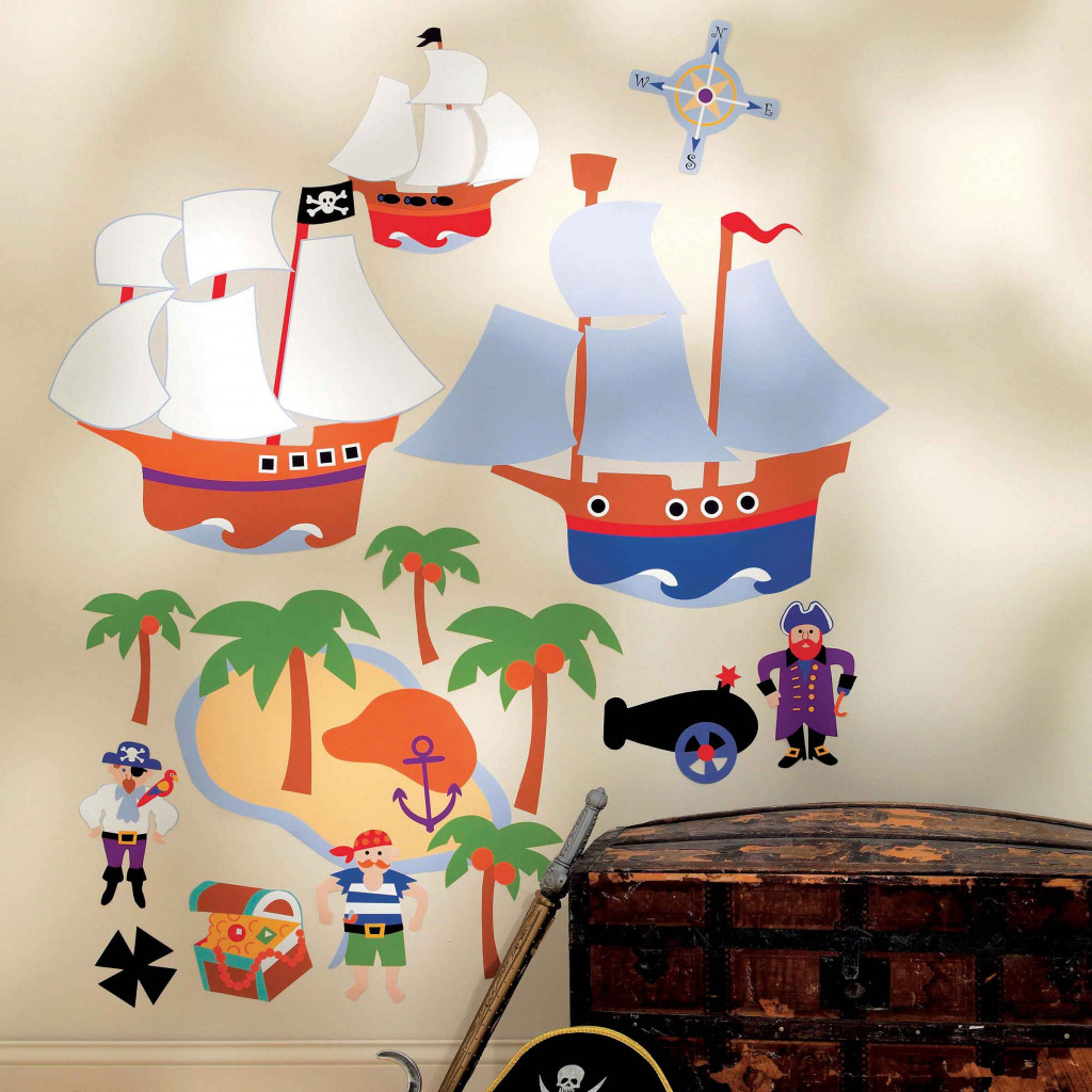 wallies wandsticker wandbild piraten kinderzimmer schiffe palmen schatzkiste. Black Bedroom Furniture Sets. Home Design Ideas