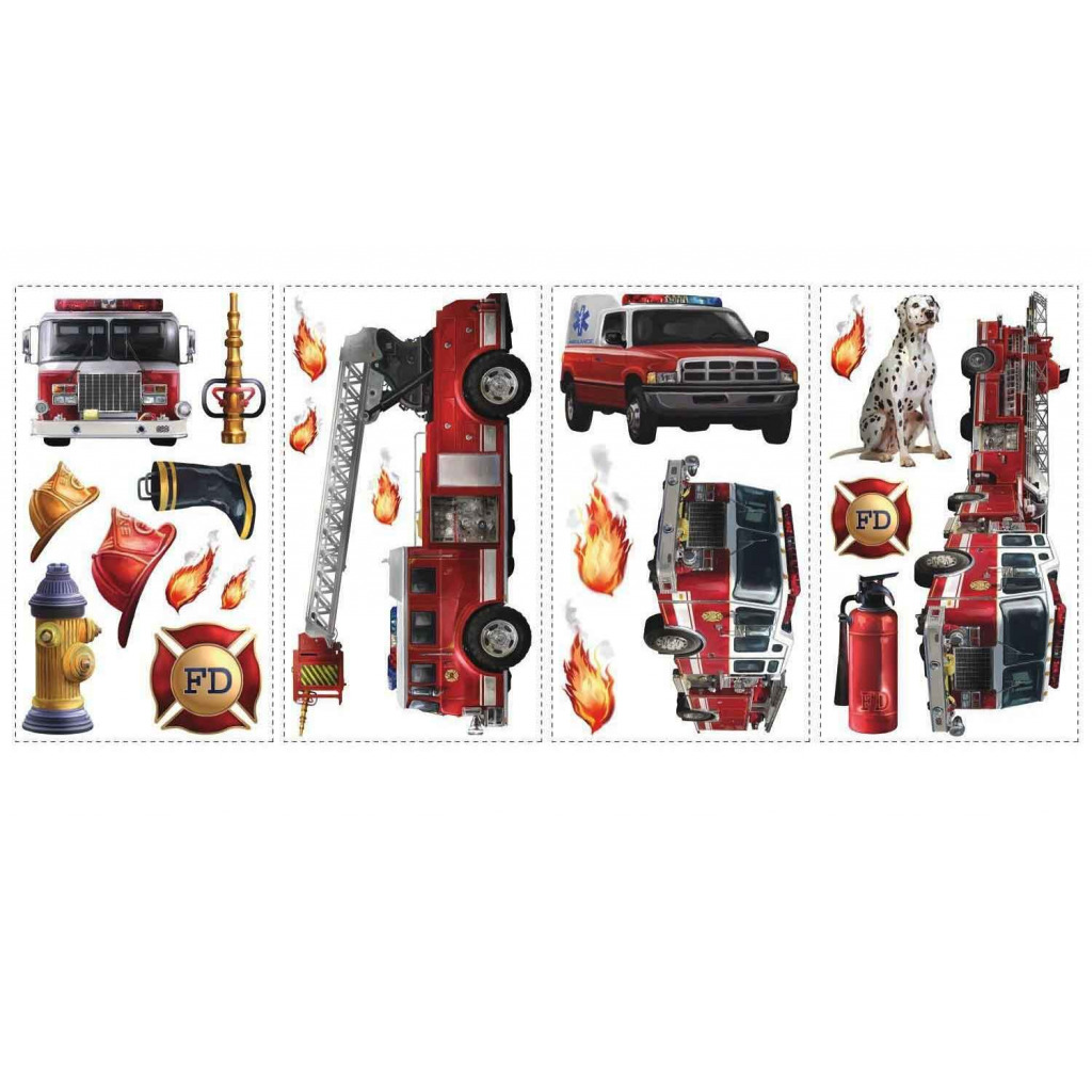 roommates wandsticker wandtattoo feuerwehr wandaufkleber. Black Bedroom Furniture Sets. Home Design Ideas