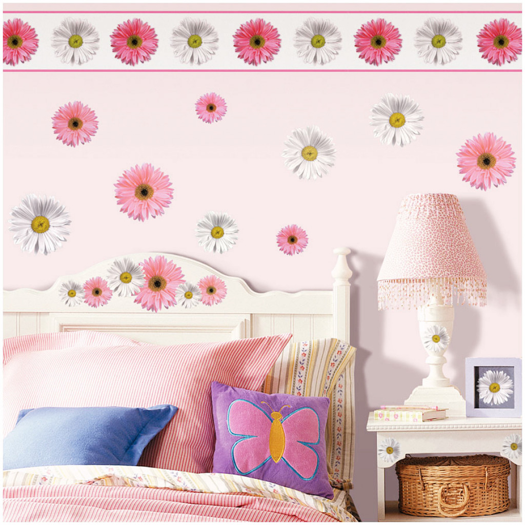 roommates tapeten borte bord re gerbera blume bord ren. Black Bedroom Furniture Sets. Home Design Ideas