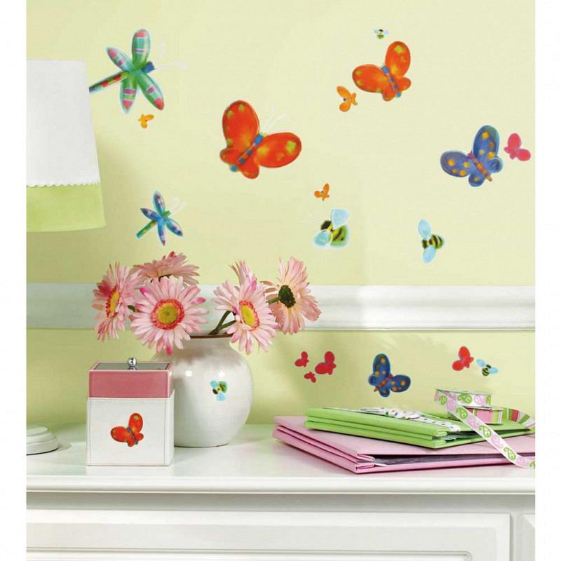 RoomMates Wandsticker Schmetterlinge Libellen