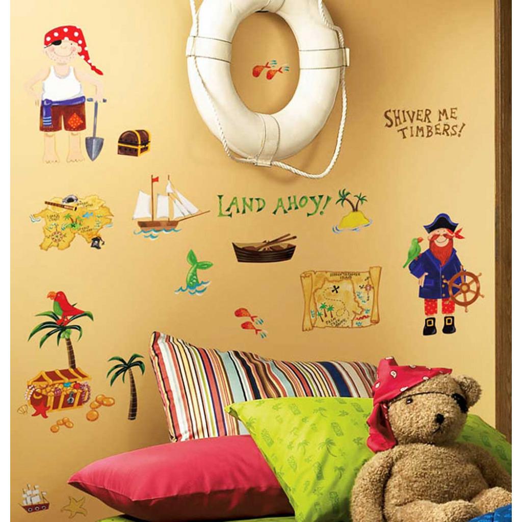 roommates wandsticker wandtattoo piraten kinderzimmer. Black Bedroom Furniture Sets. Home Design Ideas
