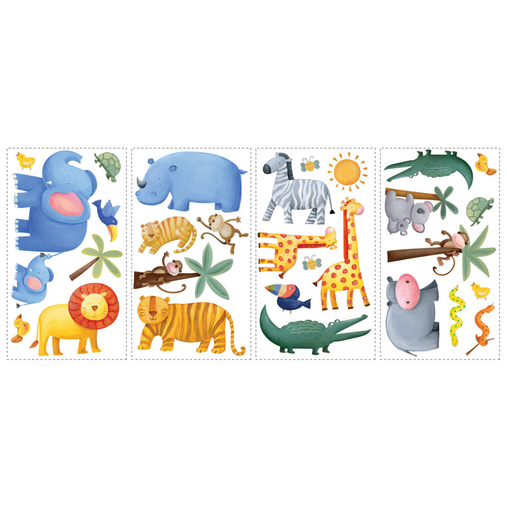26 wandsticker kinderzimmer wandtattoos dschungel tiere. Black Bedroom Furniture Sets. Home Design Ideas