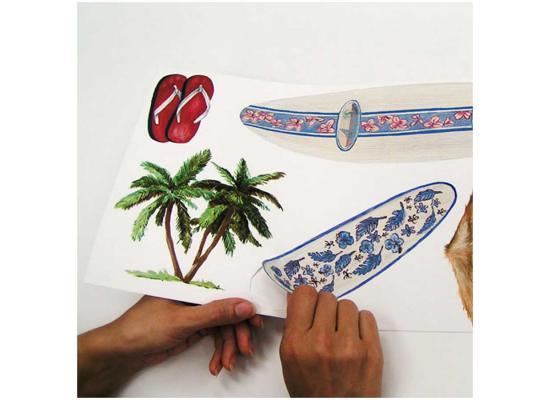 roommates wandaufkleber wandbild wandsticker wandtattoo bad deko palmen surfen ebay. Black Bedroom Furniture Sets. Home Design Ideas
