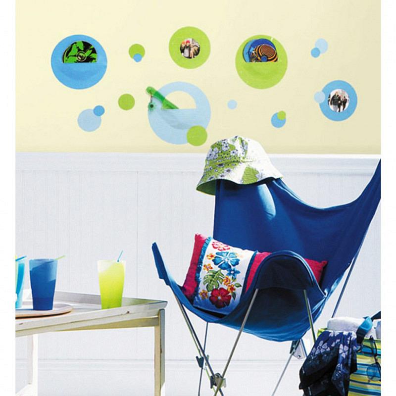 RoomMates Wandsticker Wandtaschen blau grün