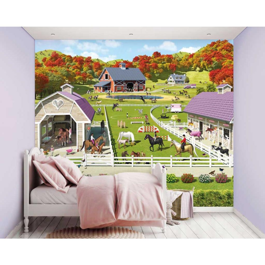 fototapete kinderzimmer m dchen pferde pony ponyhof wandbild reiten wandtapete ebay. Black Bedroom Furniture Sets. Home Design Ideas