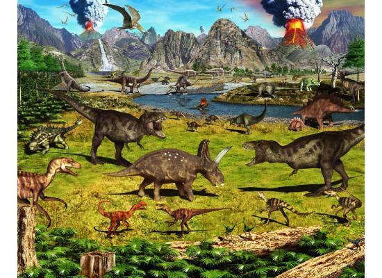 Fototapete kinderzimmer 3d wandbild dinos dinosaurier for Fototapete kinderzimmer jungen