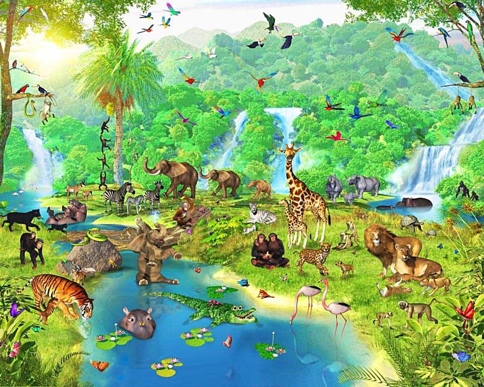 Fototapete kinderzimmer tiere  WALLTASTIC Fototapete Kinder Dschungel SAfaRi ZOO TIERE | eBay