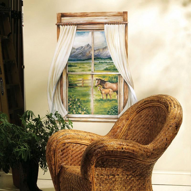 Wallies Wandsticker Landhaus Pferde Pony Fenster
