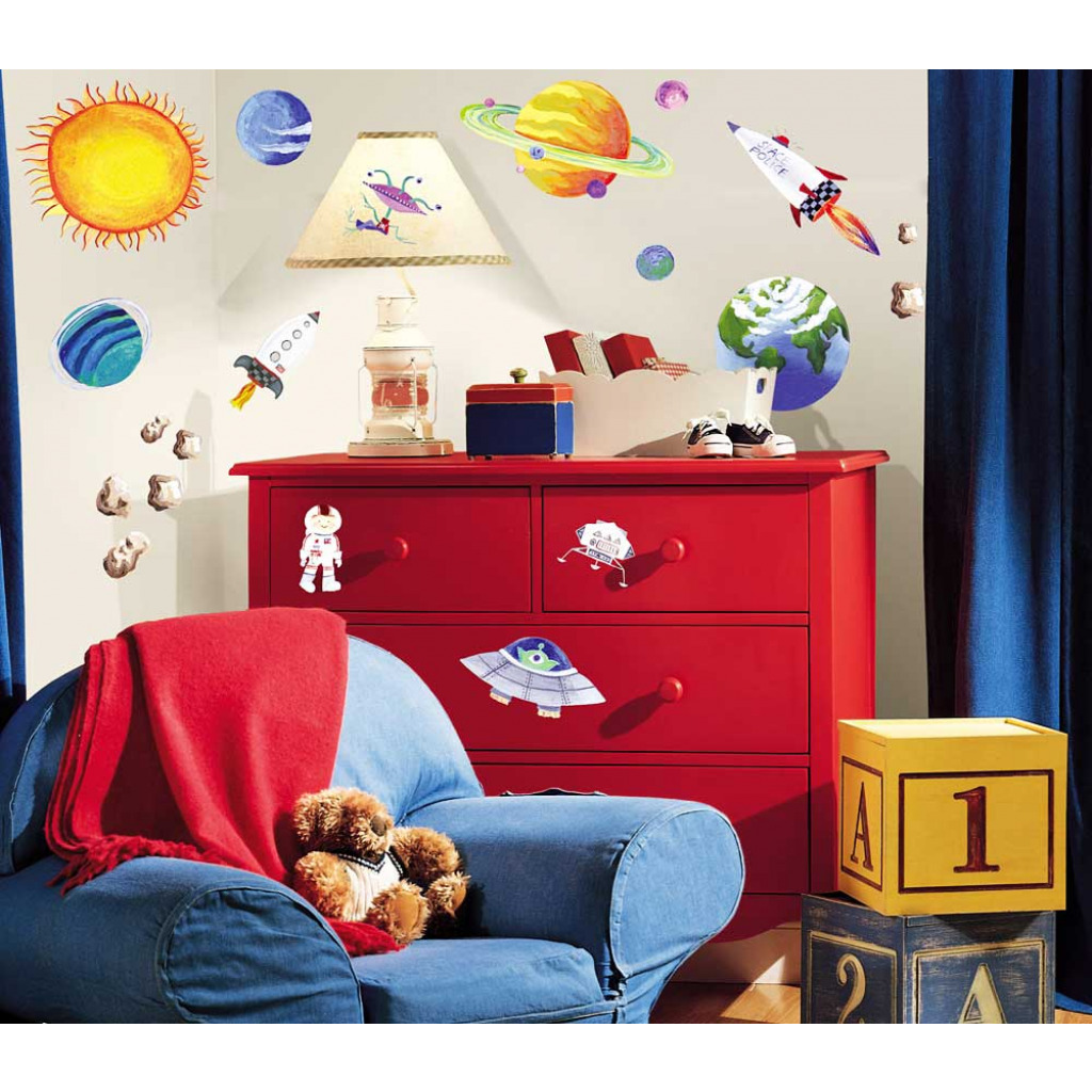 24 wandsticker wandtattoo planeten raketen sonne erde mond kinderzimmer wanddeko ebay. Black Bedroom Furniture Sets. Home Design Ideas