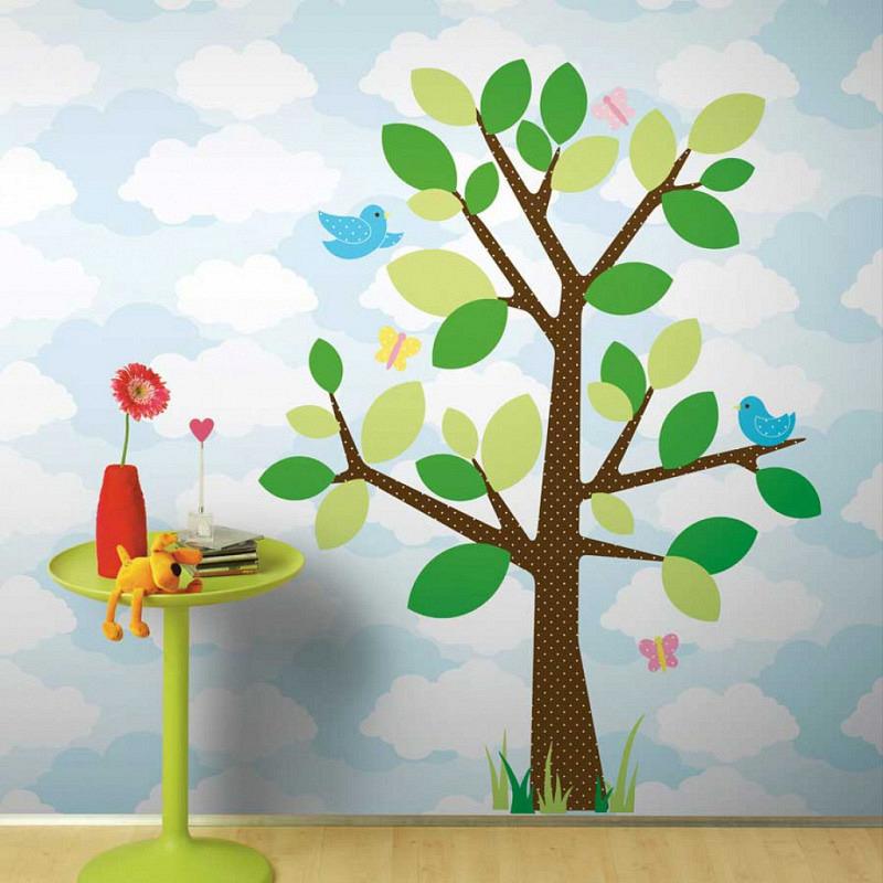 RoomMates Wandsticker Punkteblätterbaum