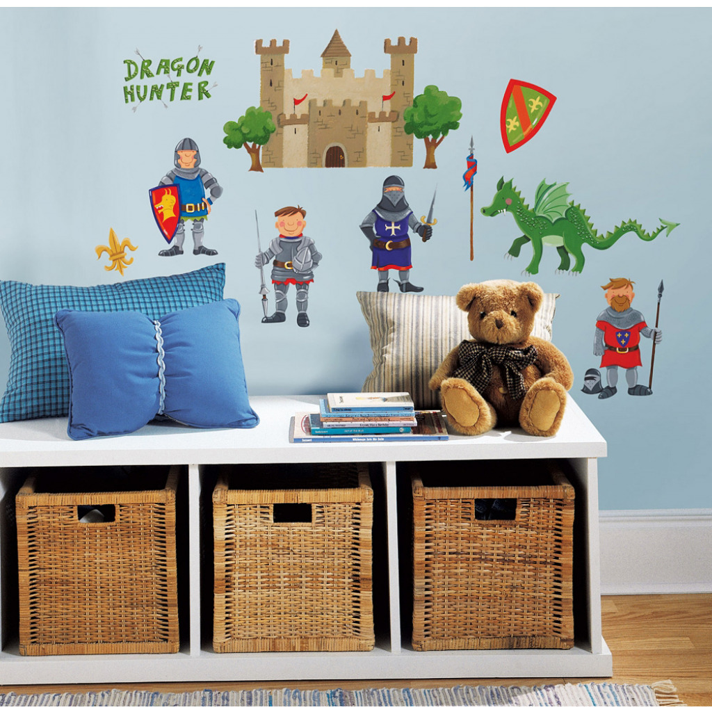 24 wandsticker wandtattoo ritter burg drachen drache kinderzimmer wanddeko junge ebay. Black Bedroom Furniture Sets. Home Design Ideas