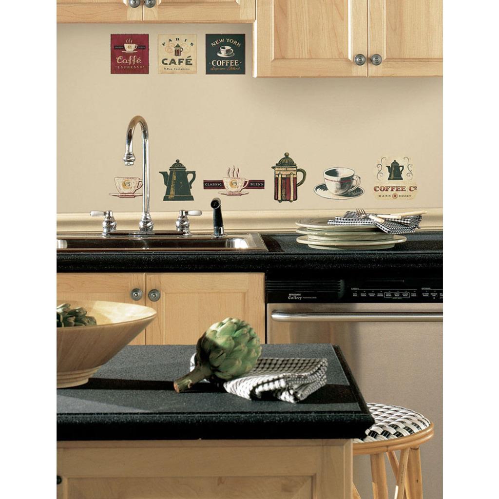 roommates wandsticker wandbild kaffeehaus cafe k che. Black Bedroom Furniture Sets. Home Design Ideas