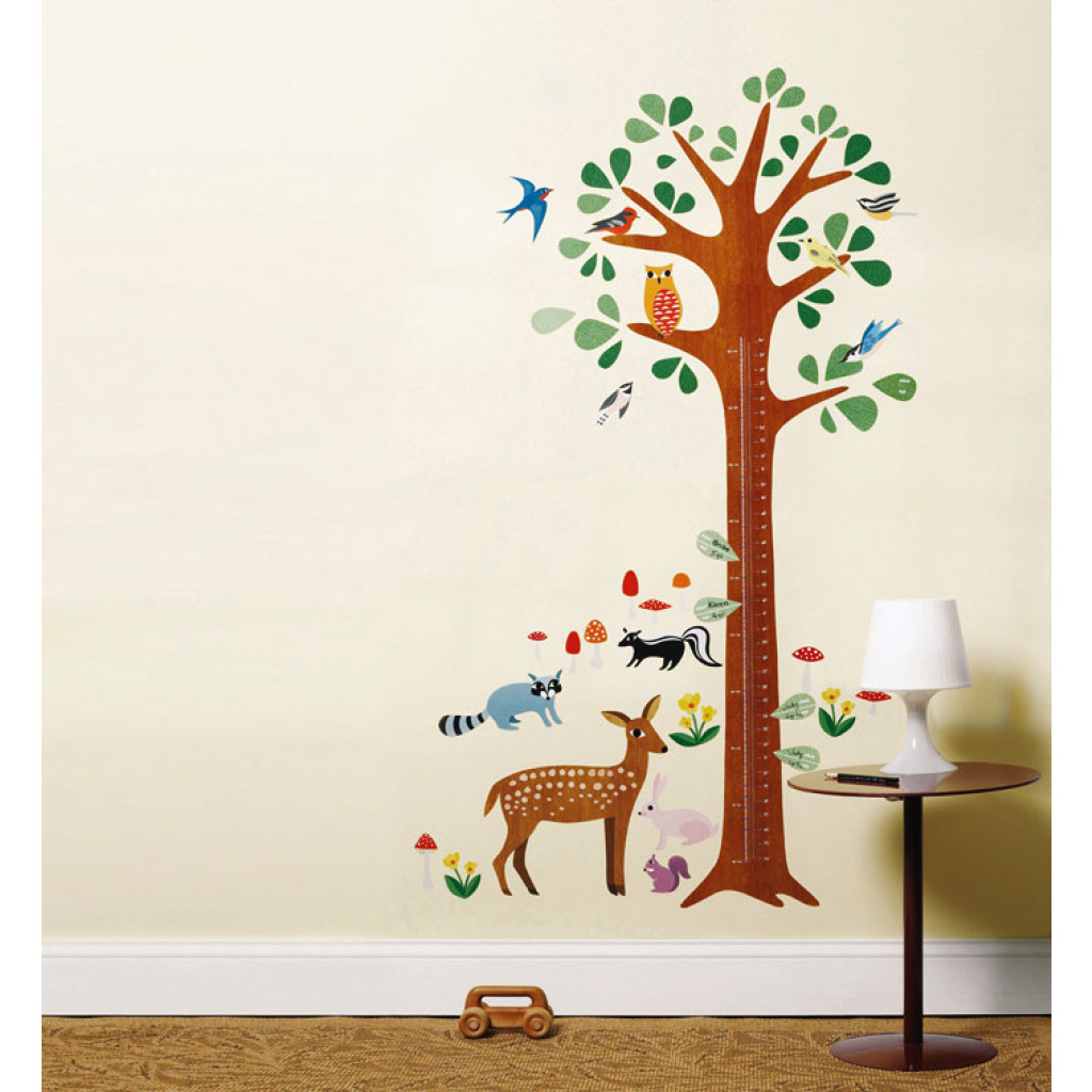 wandsticker messlatte baum tiere des waldes kinderzimmer wandtattoo reh eule ebay. Black Bedroom Furniture Sets. Home Design Ideas