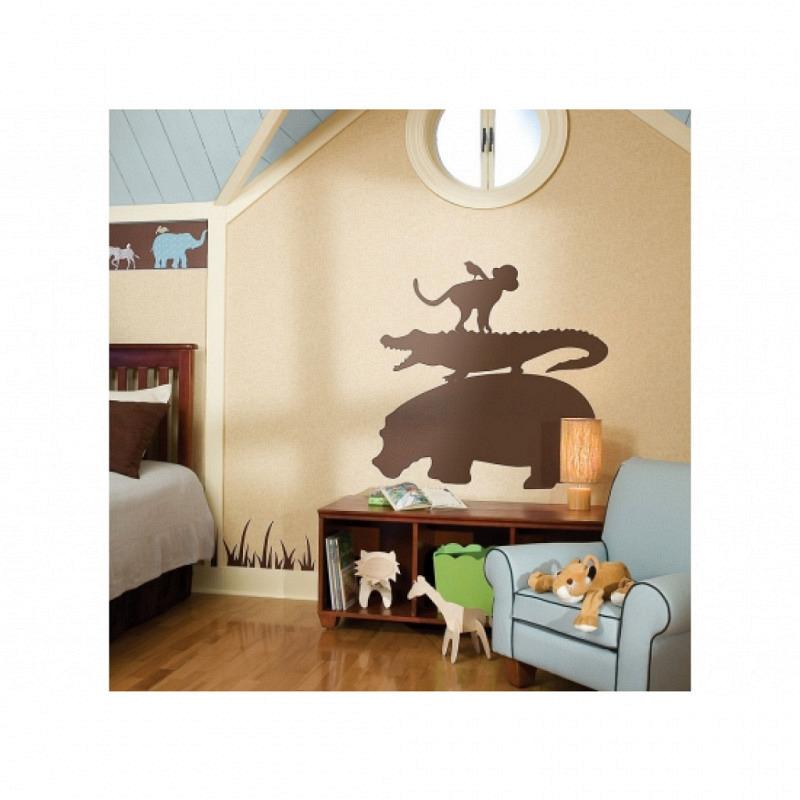 RoomMates Wandsticker Wandbild Safari braun