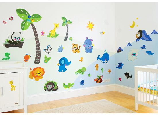 riesige fisherprice wandsticker precious planet wandtattoo babyzimmer wanddeko ebay. Black Bedroom Furniture Sets. Home Design Ideas