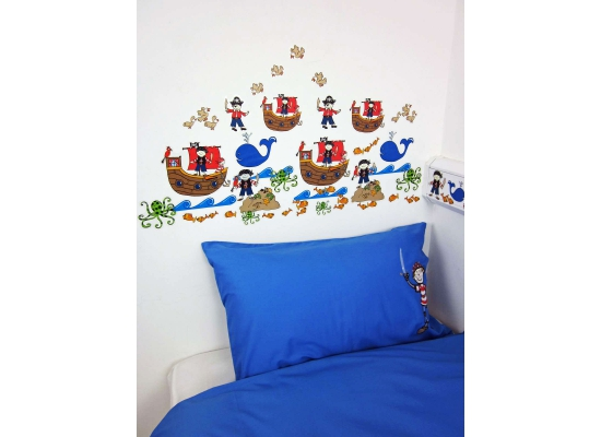 wandsticker wandtattoo wandaufkleber piraten kinderzimmer jungen ebay. Black Bedroom Furniture Sets. Home Design Ideas