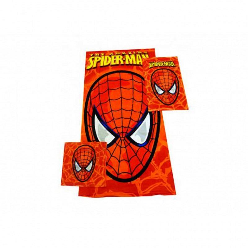 Handtuch Set mit Waschlappen Spiderman 3 Teile