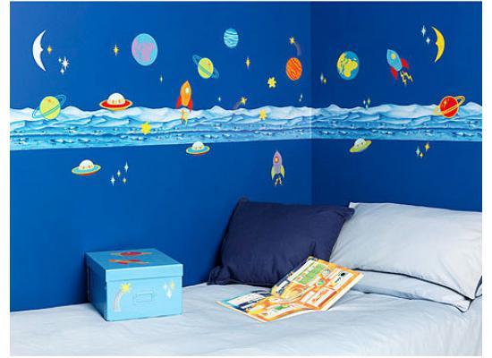 Borduere und wandsticker komplettset planeten weltall for Kinderzimmer weltall