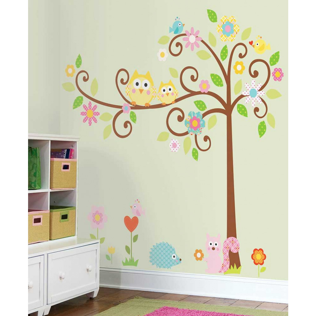 wandsticker wandbild baum waldtiere scroll tree wandtattoo wanddeko kinderzimmer. Black Bedroom Furniture Sets. Home Design Ideas
