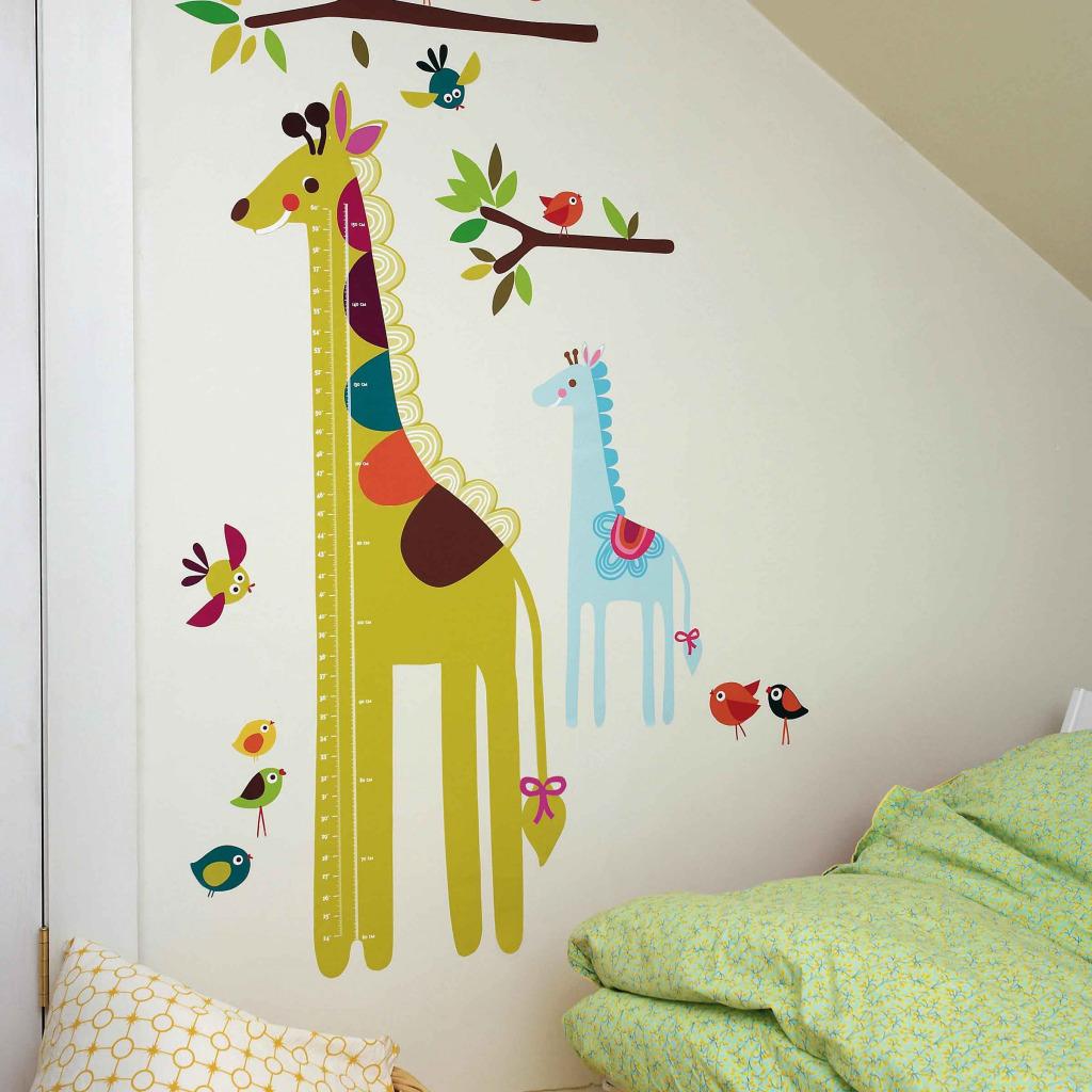 wallies wandsticker giraffe messlatte kinderzimmer wand deko selbstklebend baum ebay. Black Bedroom Furniture Sets. Home Design Ideas