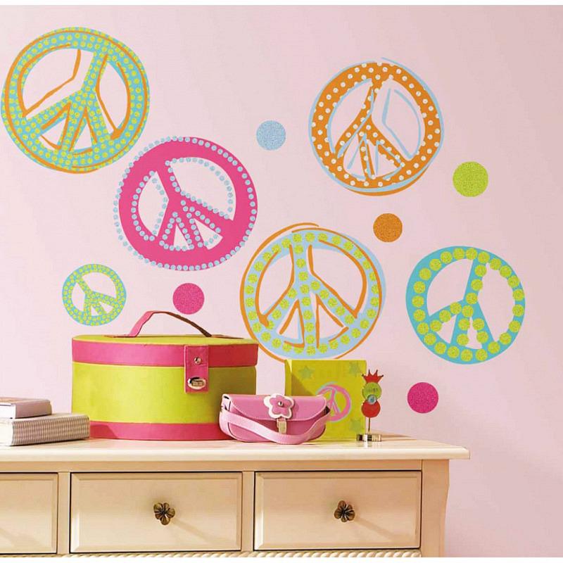 RoomMates Wandsticker Peace Zeichen mit Glitter