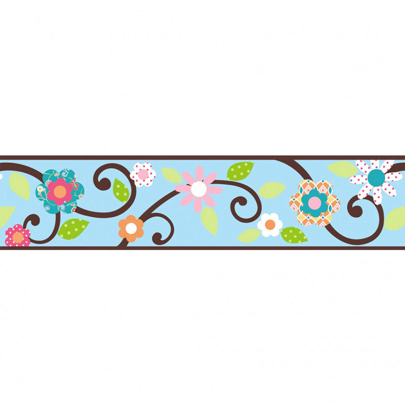 RoomMates Tapeten Borte Floral Scroll blau
