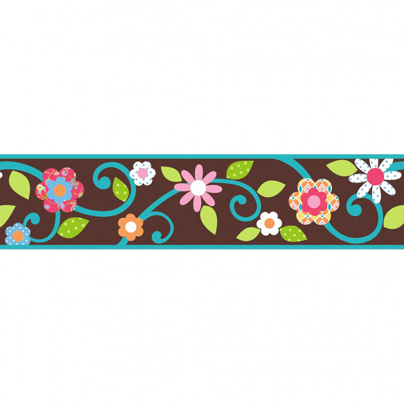 RoomMates Tapeten Borte Floral Scroll braun