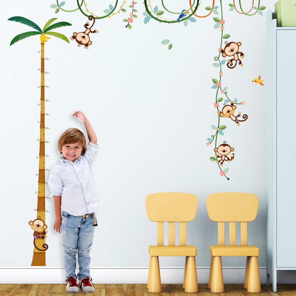 Wandsticker Messlatte Affen Kinderzimmerdekoration