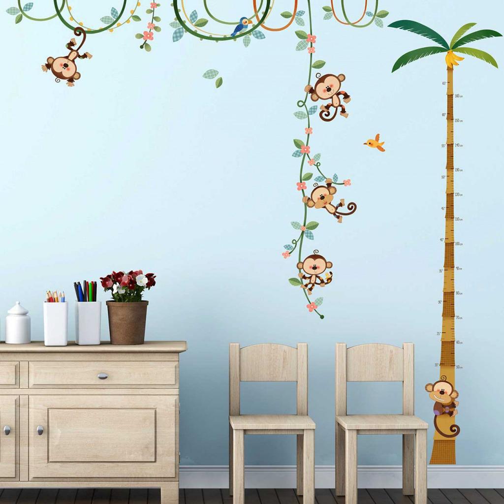 Wandsticker Messlatte Affen Kinderzimmer